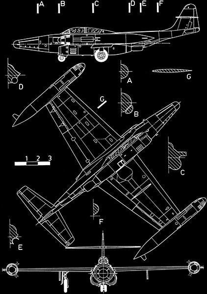 Northrop F-89H Scorpion - Blueprint Magnet