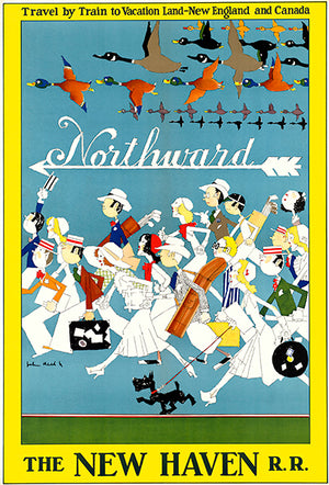 Northward - Train New England & Canada - New Haven RR - 1940's - Travel Poster Magnet