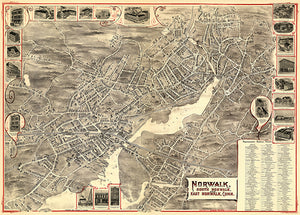Norwalk, South and East - 1899 - Aerial Bird's Eye View Map Poster