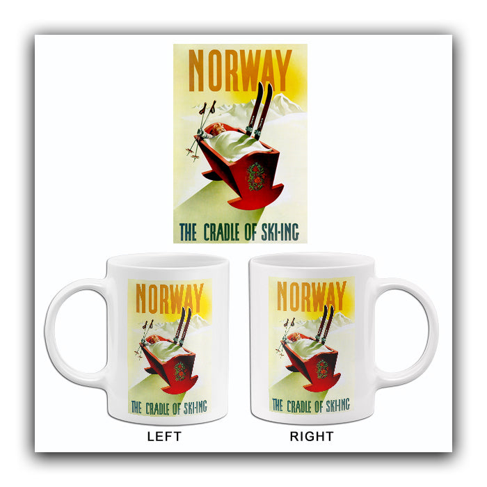 1940's - Norway - The Cradle of Skiing - Travel Advertising Mug