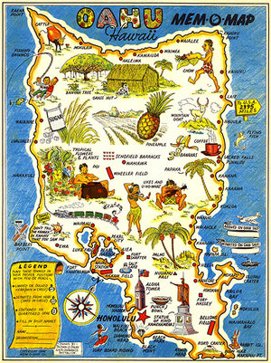 Oahu, Hawaii - 1946 - Pictorial Map Poster