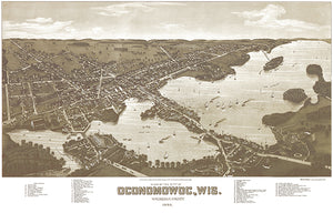 Oconomowoc, Waukesha County Wisconsin - 1885 - Aerial Bird's Eye View Map Poster