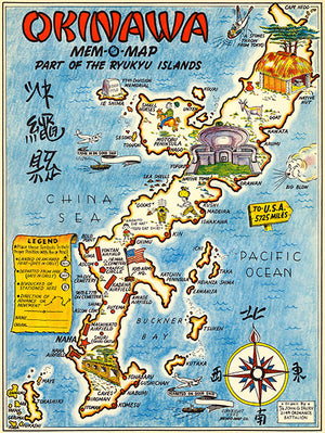 Okinawa, Japan - Ryukyu Islands - 1945 - Pictorial Map Poster