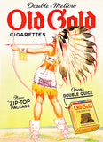 Old Gold Cigarette - American Native Indian Girl - 1939 - Advertising Poster