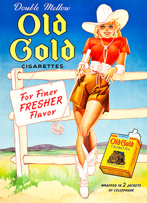 Old Gold Cigarette - Cow Girl - 1939 - Advertising Poster
