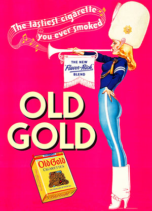 Old Gold Cigarette - Drum Corps Trumpet Girl - 1939 - Advertising Magnet