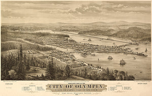 Olympia, East Olympia, And Tumwater - 1878 - Aerial Bird's Eye View Map Poster