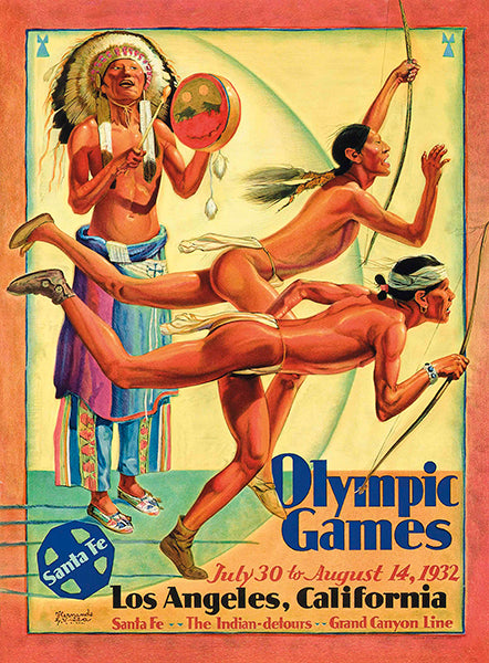 Olympic Games Los Angeles California - 1932 - Santa Fe Railroad Advertising Poster