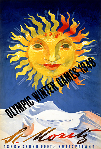 Olympic Winter Games - St Moritz, Switzerland - 1948 - Advertising Poster