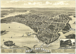 Onset Bay Grove - Wareham, Massachusetts - 1885 - Aerial Bird's Eye View Map Poster