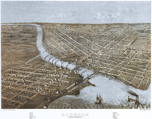 Oshkosh, Wisconsin - 1867 - Aerial Bird's Eye View Map Poster