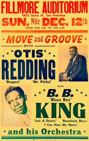 Otis Redding - B B King - 1965 - Concert Poster
