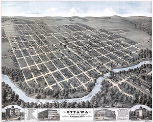 Ottawa, Kansas - Looking South-West - 1872 - Aerial Bird's Eye View Map Poster