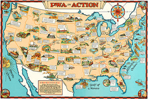 PWA In Action - Public Works Administration - 1935 - USA Pictorial Map Poster
