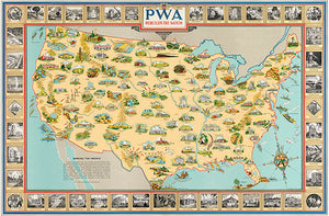 PWA Rebuilds The Nation - Public Works Administration - 1939 - USA Pictorial Map Poster