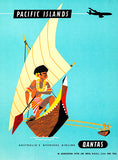 Pacific Islands - Qantas Airlines - 1950's - Travel Poster Magnet