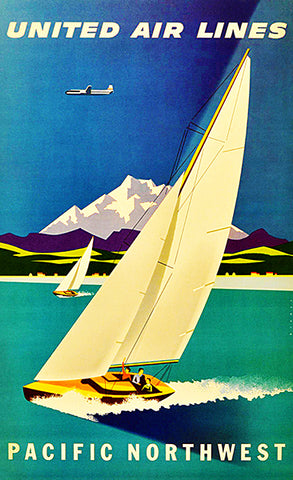 Pacific Northwest - 1950's - United Air Lines - Travel Poster