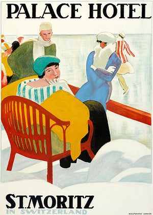 Palace Hotel - St Moritz Switzerland - 1920 - Travel Poster Magnet