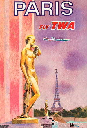 Paris - Fly TWA - 1960's - Travel Poster Magnet