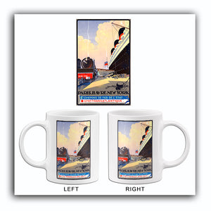 Paris-Havre-New York - French Line - 1920's - Travel Poster Mug