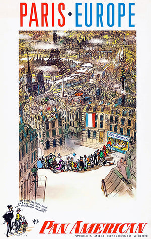 Paris - Europe - Pan American Airlines - 1959 - Travel Poster