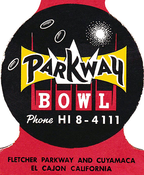 Parkway Bowl - 1960's - El Cajon California - Matchbook Cover Poster