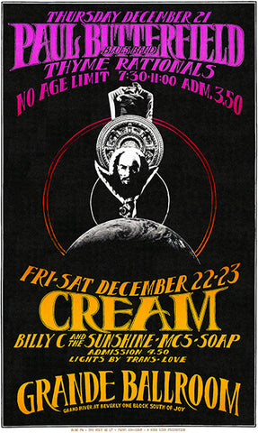 Paul Butterfield - Cream - 1967 - Grande Ballroom - Concert Poster