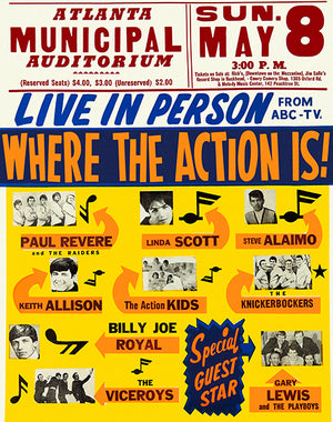 Paul Revere - Gary Lewis - Where The Action Is - 1966 - Atlanta - Concert Poster