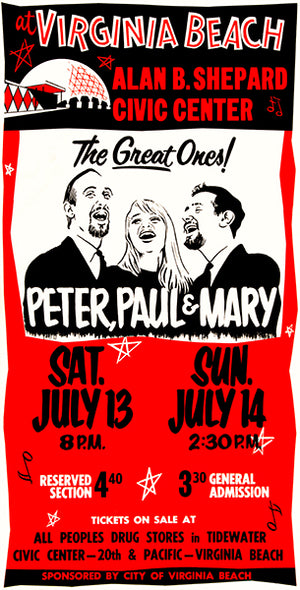 Peter, Paul & Mary - 1968 - Virginia Beach - Concert Poster