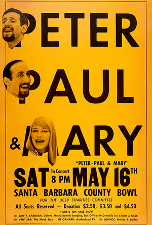 Peter, Paul & Mary - Santa Barbara CA - 1964 - Concert Poster