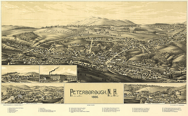 Peterborough, New Hampshire - 1886 - Aerial Bird's Eye View Map Poster