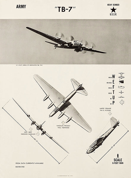 Petlyakov Pe-8 - TB-7 - 1944 - World War 2 - Aircraft Recognition Poster