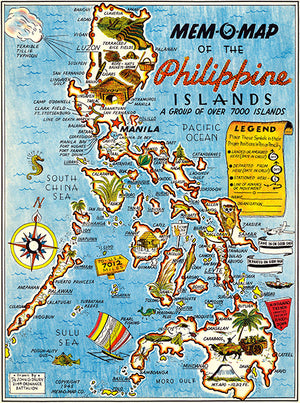 Philippines - Over 7000 Islands - 1945 - Pictorial Map Poster