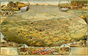Phoenix, Maricopa County, Arizona - 1885 - Aerial Bird's Eye View Map