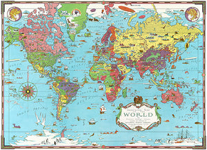 Pictorial Map Colorful Illustrations - 1931 -  Mercator Map Of The World Poster