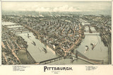 Pittsburgh, Pennsylvania - 1902 - Aerial Bird's Eye View Map Poster