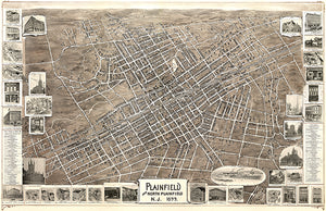 Plainfield, New Jersey - 1899 - Aerial Bird's Eye View Map Poster
