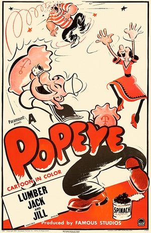 Popeye Cartoon - 1949 - Promotional Advertising Poster