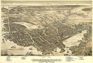 Portsmouth, New Hampshire - 1877 - Aerial Bird's Eye View Map Poster