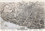 Poughkeepsie, New York - 1874 - Aerial Bird's Eye View Map Poster