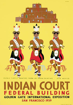 Pueblo Turtle Dancers - New Mexico - Indian Court - 1939 - WPA Poster Magnet