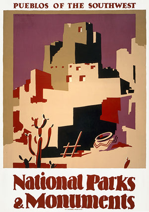 Pueblos Of The Southwest - National Parks And Monuments - 1935 - Travel Poster Magnet