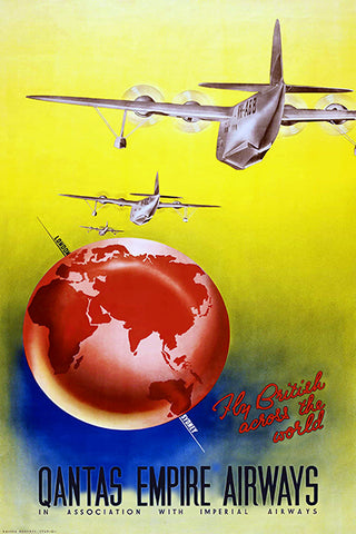 Qantas Empire Airways - Fly British Across The World - 1938 - Travel Poster