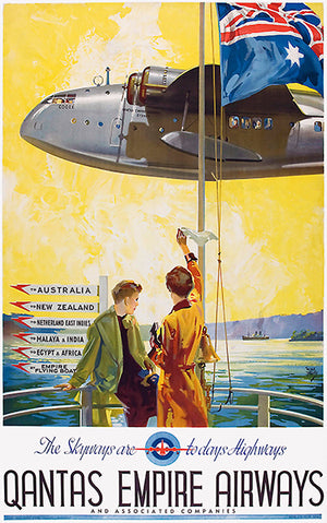 Qantas Empire Airways - The Skyways Are Today's Highways - 1938 - Travel Poster