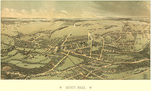 Quincy, Massachusetts - 1878 - Aerial Bird's Eye View Map Poster