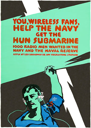 Radio Men - Submarine - US Navy - 1910's - World War I - Propaganda Poster