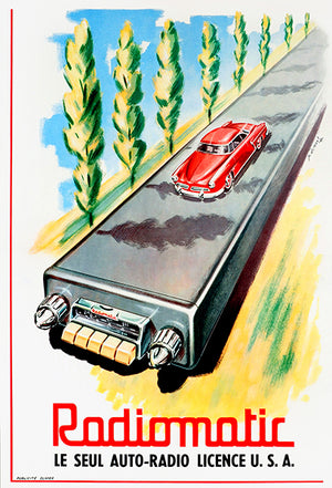 Radiomatic Car Radio - 1950's - Promotional Advertising Poster