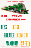 Rail Travel Ensures Less Cost - South Australian Railways - 1936 - Travel Poster