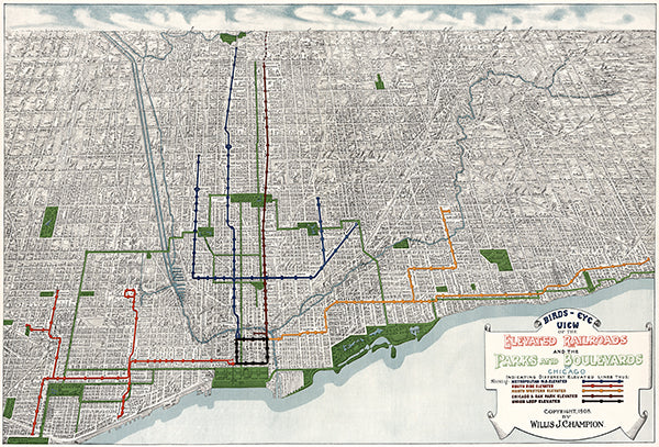 Railroads Parks Boulevards Chicago, Illinois - 1908 - Aerial Bird's Eye View Map Poster