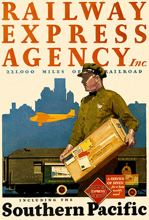 Railway Express Agency - Southern Pacific Railroad - 1930 - Advertising Magnet